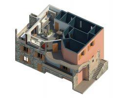 3D casa angolo Vista pianta casa