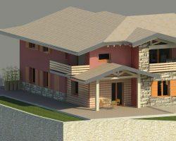3D casa angolo vista 2 esterno